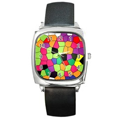 Stained Glass Abstract Background Square Metal Watch