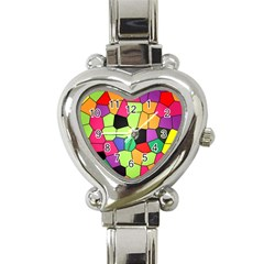 Stained Glass Abstract Background Heart Italian Charm Watch