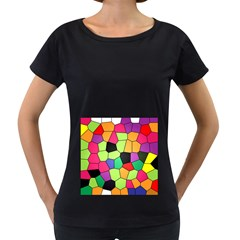 Stained Glass Abstract Background Women s Loose-Fit T-Shirt (Black)