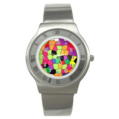 Stained Glass Abstract Background Stainless Steel Watch