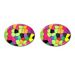 Stained Glass Abstract Background Cufflinks (Oval)