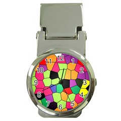 Stained Glass Abstract Background Money Clip Watches