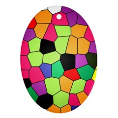 Stained Glass Abstract Background Oval Ornament (Two Sides)