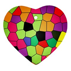 Stained Glass Abstract Background Heart Ornament (2 Sides)
