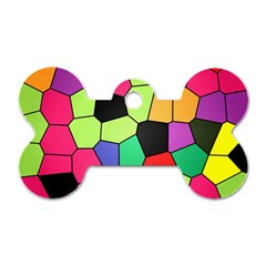Stained Glass Abstract Background Dog Tag Bone (Two Sides)