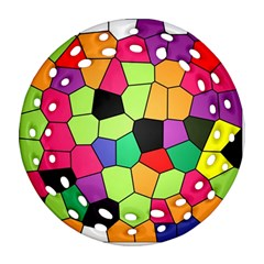 Stained Glass Abstract Background Round Filigree Ornament (2Side)
