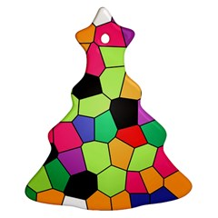 Stained Glass Abstract Background Christmas Tree Ornament (2 Sides)