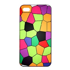 Stained Glass Abstract Background Apple iPhone 4/4s Seamless Case (Black)