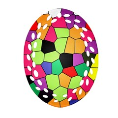 Stained Glass Abstract Background Ornament (Oval Filigree)