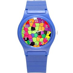 Stained Glass Abstract Background Round Plastic Sport Watch (S)