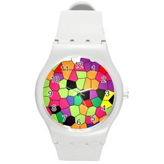 Stained Glass Abstract Background Round Plastic Sport Watch (M)