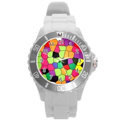 Stained Glass Abstract Background Round Plastic Sport Watch (L)