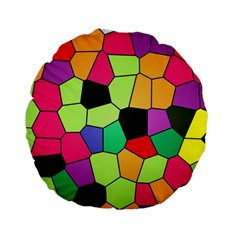 Stained Glass Abstract Background Standard 15  Premium Round Cushions