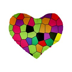 Stained Glass Abstract Background Standard 16  Premium Heart Shape Cushions