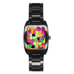 Stained Glass Abstract Background Stainless Steel Barrel Watch