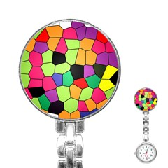 Stained Glass Abstract Background Stainless Steel Nurses Watch