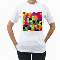 Stained Glass Abstract Background Women s T-Shirt (White)