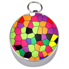 Stained Glass Abstract Background Silver Compasses