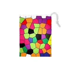 Stained Glass Abstract Background Drawstring Pouches (Small)