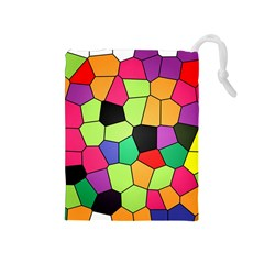 Stained Glass Abstract Background Drawstring Pouches (Medium)
