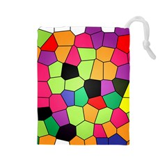 Stained Glass Abstract Background Drawstring Pouches (Large)