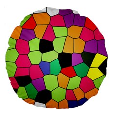 Stained Glass Abstract Background Large 18  Premium Flano Round Cushions