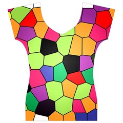 Stained Glass Abstract Background Women s V-Neck Cap Sleeve Top