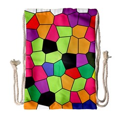 Stained Glass Abstract Background Drawstring Bag (Large)
