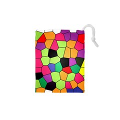 Stained Glass Abstract Background Drawstring Pouches (XS)