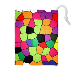 Stained Glass Abstract Background Drawstring Pouches (Extra Large)