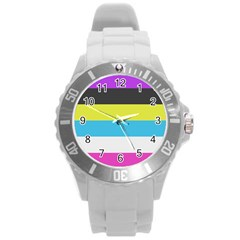 Bigender Flag Round Plastic Sport Watch (l)