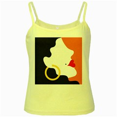 Woman s Face Yellow Spaghetti Tank