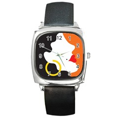Woman s Face Square Metal Watch
