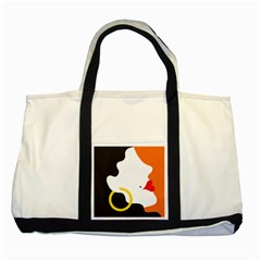 Woman s Face Two Tone Tote Bag