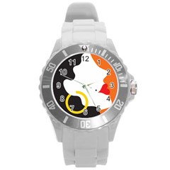 Woman s Face Round Plastic Sport Watch (L)