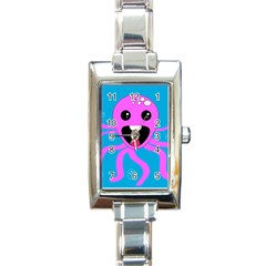 Bubble Octopus Rectangle Italian Charm Watch