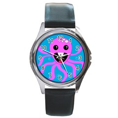 Bubble Octopus Round Metal Watch