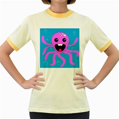 Bubble Octopus Women s Fitted Ringer T Shirts