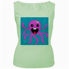 Bubble Octopus Women s Green Tank Top