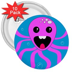 Bubble Octopus 3  Buttons (10 pack)