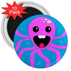 Bubble Octopus 3  Magnets (10 Pack)