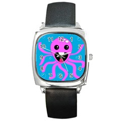 Bubble Octopus Square Metal Watch