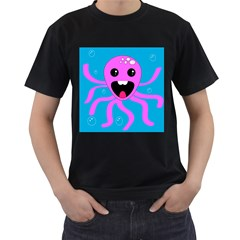 Bubble Octopus Men s T Shirt (black) (two Sided)