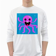 Bubble Octopus White Long Sleeve T Shirts