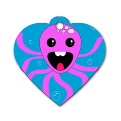 Bubble Octopus Dog Tag Heart (two Sides)