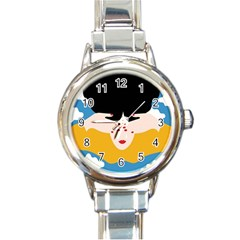 Close Your Eyes Round Italian Charm Watch