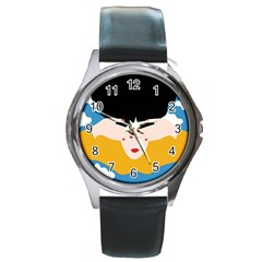 Close Your Eyes Round Metal Watch