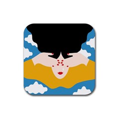 Close Your Eyes Rubber Square Coaster (4 pack)