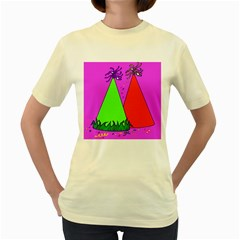 Birthday Hat Party Women s Yellow T-Shirt