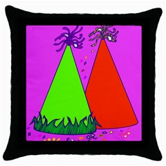 Birthday Hat Party Throw Pillow Case (Black)